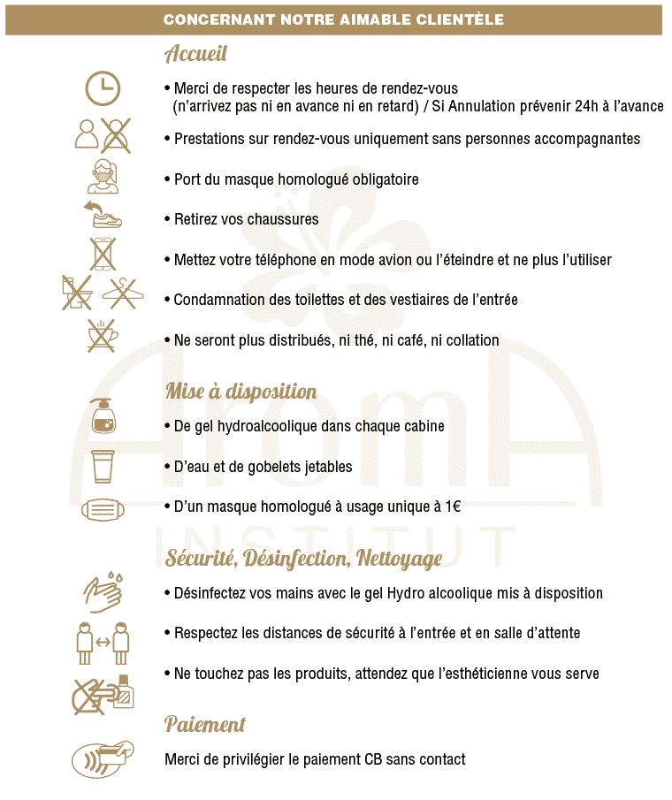 Aroma Institut Charte Covid19 concernant les clients